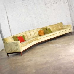 14 Foot Angled Mid-Century Modern Green Velvet Sofa Style Dunbar by Edward Wormley