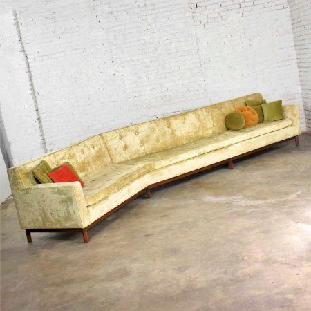 14 Foot Angled Mid-Century Modern Green Velvet Sofa Style Dunbar by Edward Wormley