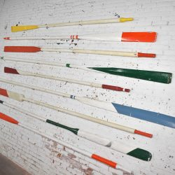 Vintage Wooden Hand Carved and Painted Oars Maritime Nautical Décor Set of 9