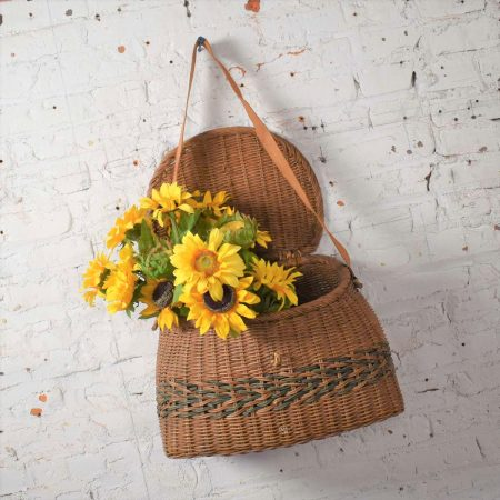 Antique Wicker Basket Fishing Creel with Leather Strap Handle
