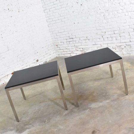 Pair Vintage Large Modern Square End Tables in Stainless Steel with Black Laminate Tops
