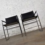 Vintage Chrome & Black Vinyl Faux Leather Sling Director's Chairs Straight Legs, a Pair