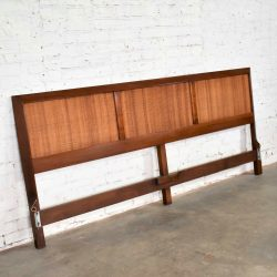 American of Martinsville Accord Walnut & Cane King Headboard by Merton Gershun