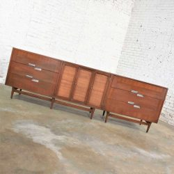 American of Martinsville Accord Walnut & Cane Dresser & Bachelor's Chest w/ X's & Asymmetric Handles