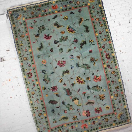 Vintage Chinese Peking Wool Handmade Rug in Teal Green with Overall Pattern 6'x 8.9'