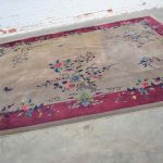 """Antique Chinese Art Deco Wool Handmade Rug Taupe with Magenta Border 8'8""""x11'4.5"""""""