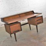 Milo Baughman for Drexel Perspective Mindoro and Faux Leather Floating Top MCM Desk