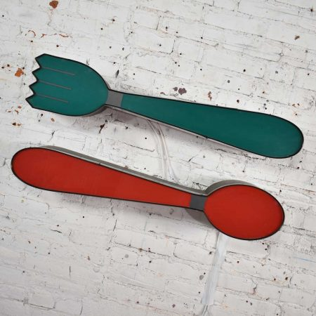 Vintage Fork and Spoon Neon Sign Wall Hanging Sculptures in Red and Green
