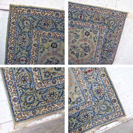 "Handmade Persian Wool Tabriz Style Large Rug Light Teal Green Ground 12'3""x 8'9.5"""