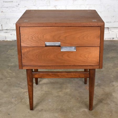 American of Martinsville Accord Walnut Nightstand or End Table w/ X's & Asymmetric Handles