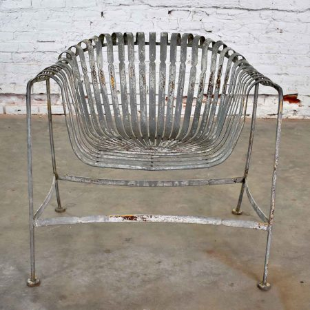 Vintage Rustic Spring Steel Fan and Roll Back Garden Chair Style of Francois Carré