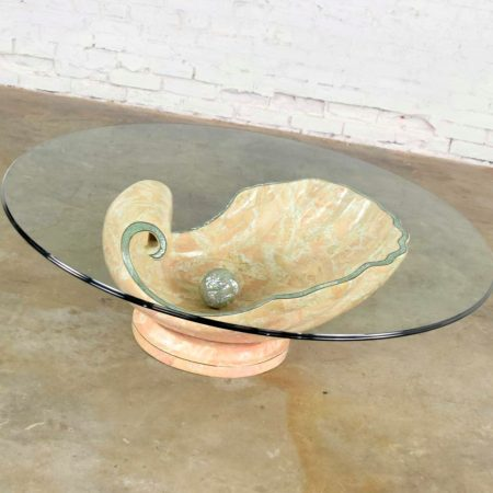 Monumental Tessellated Marble Clam Shell w/Giant Pearl as Coffee Table Base w/Glass Top