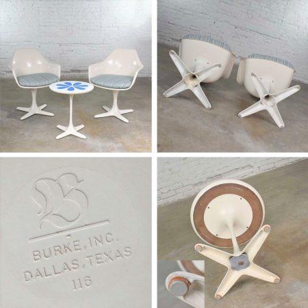 Set Burke Tulip Style Swivel Chairs & Side Table w/ Mod Flower Petal Design Blue & White