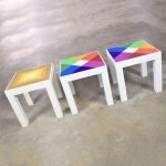 Trio of Mod Pop Art Plastic Parsons Style Square Side Tables Style Kartell or Syroco
