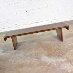 HOLD-Vintage Walnut Stained Mahogany Bench Coffee Table Style of Frank Lloyd Wright for Henredon