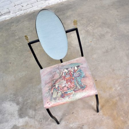 Vintage Hollywood Regency Chinoiserie Accent Chair Aqua Red Upholstery Black Steel Tube