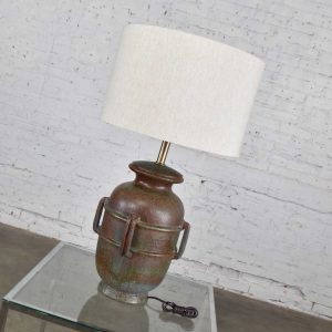 Mid-Century Modern Italian Green Pottery Lamp by Raymor Attributed to Alvino Bagni