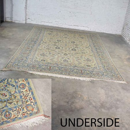 "Handmade Persian Wool Tabriz Style Large Rug Light Teal Green Ground 12'3""x 8'9.5"""