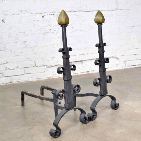 Pair Antique Arts & Crafts Art Deco Hand Wrought Iron & Bronze Andirons