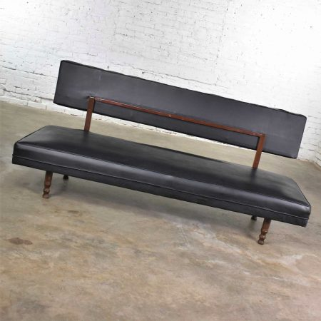 Vintage Mid Century Modern Black Vinyl Faux Leather Convertible Sofa by Universal of High Point