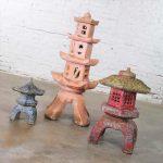 Trio of Vintage Concrete Japanese Pagoda Garden Ornaments Three Heights