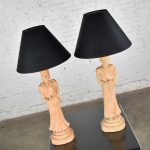 Hollywood Regency Asian Figural Lamps Style of James Mont w/ Black Tapered Shades