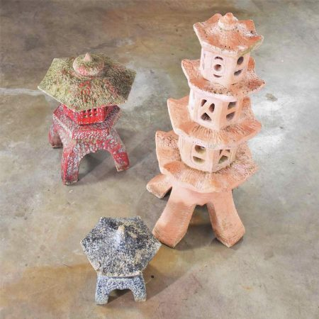 Trio of Vintage Concrete Japanese Pagoda Garden Ornaments Three Heights