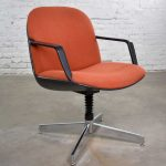 Vintage Modern Orange Fabric Hon Armchair Style of Charles Pollock for Knoll