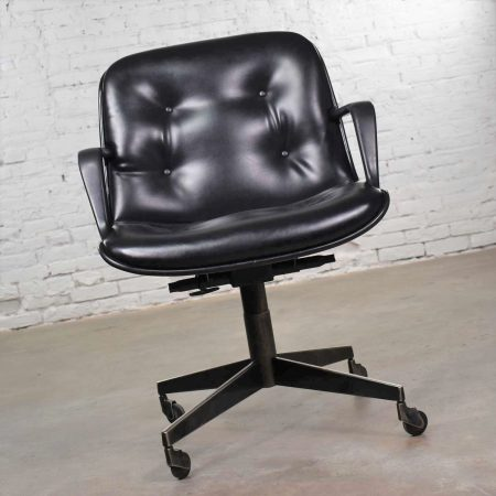 Vintage Modern Black Vinyl Faux Leather Steelcase 451 Office Chair Style Pollock for Knoll