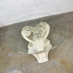 Neoclassical Architectural Plaster Pedestal Dining or Center Table w/ Round Glass Top