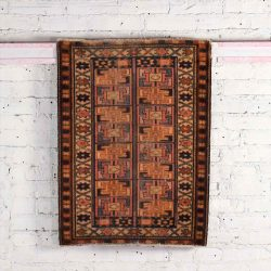 "Vintage Geometric Wool Turkish Milas Style Hand Woven Rug 2' 10"" x 2' 2"""