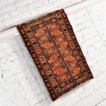 Vintage Geometric Wool Turkish Milas Style Hand Woven Rug 2'