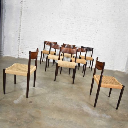 Poul Volther Scandinavian Modern Rosewood & Paper Cord Dining Chairs by Frem Røjle Set 8