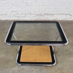 Thonet Bauhaus Style Chrome Black Wood Cane & Glass Square Coffee Table or End Table by Arthur Umanoff