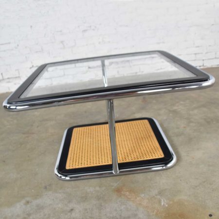 Breuer Bauhaus Style Chrome Black Wood Cane & Glass Square Coffee Table or End Table