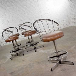 HOLD – 5 Cosco Vintage Modern Chrome Bar or Counter Stools w/ Brown Vinyl Faux Leather Seats