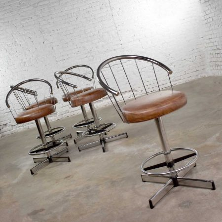 5 Cosco Vintage Modern Chrome Bar or Counter Stools w/ Brown Vinyl Faux Leather Seats