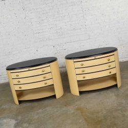 Vintage Modern Pair of Oval Blonde and Black Nightstands or Bedside Cabinets