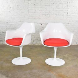 Pair of White Saarinen Style Tulip Swivel Chairs with Red Cushions