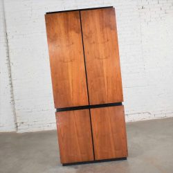 Vintage Modern Walnut Entertainment Cabinet Storage Armoire by Barzilay Furniture Mfg.