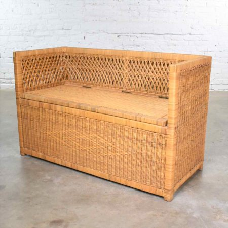 Vintage Modern Wicker Bench Settee with Trunk Style Storage