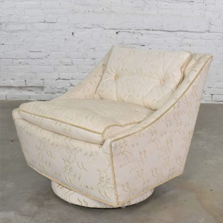 Vintage Art Deco Petite White Swivel Chair with Embroidered Leather by Oxford Ltd.