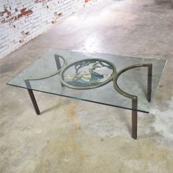 Art Deco Style Bronze Coffee Table with Diana the Huntress Medallion & Glass Top