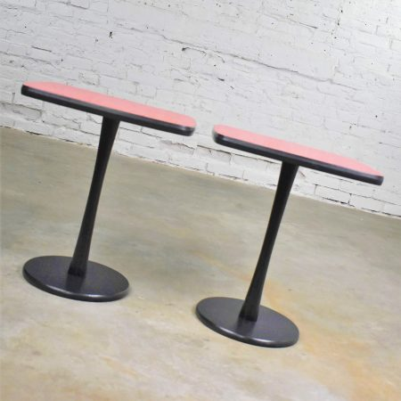 Small Pair of Red Laminate Squircle Pedestal Side Tables Mid Century Modern