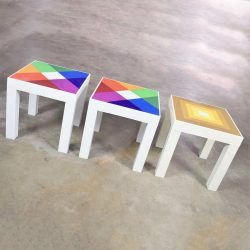 HOLD-Trio of Mod Pop Art Plastic Parsons Style Square Side Tables Style Kartell or Syroco