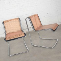Thonet Bauhaus Style Reverse Cantilever Chairs Chrome Tube Black Wood & Cane by Arthur Umanoff