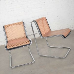 Pair Breuer Bauhaus Style Reverse Cantilever Chairs in Chrome Tube Black Wood & Cane