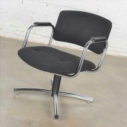 Vintage Modern Chrome & Black Office Armchair 4 Prong Base Style Steelcase 1970