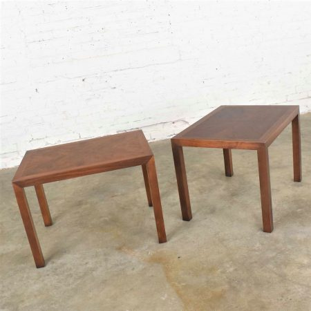 Vintage Modern Lane Parsons Style #1124-5 Walnut End or Side Tables1970 Pair w/ Inlay