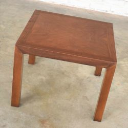 Vintage Modern Lane Solid Walnut Square Parsons Side Table w/ Inlay Style #1124-18 1970